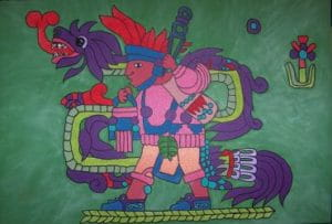 Le dieu de l'abondance aztèque, qui a donné le chocolat aux hommes..