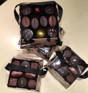 Boites de chocolat de Noël.